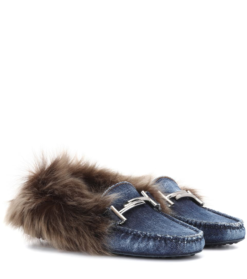 Tod's Loafers Gommino aus Denim mit Pelz
