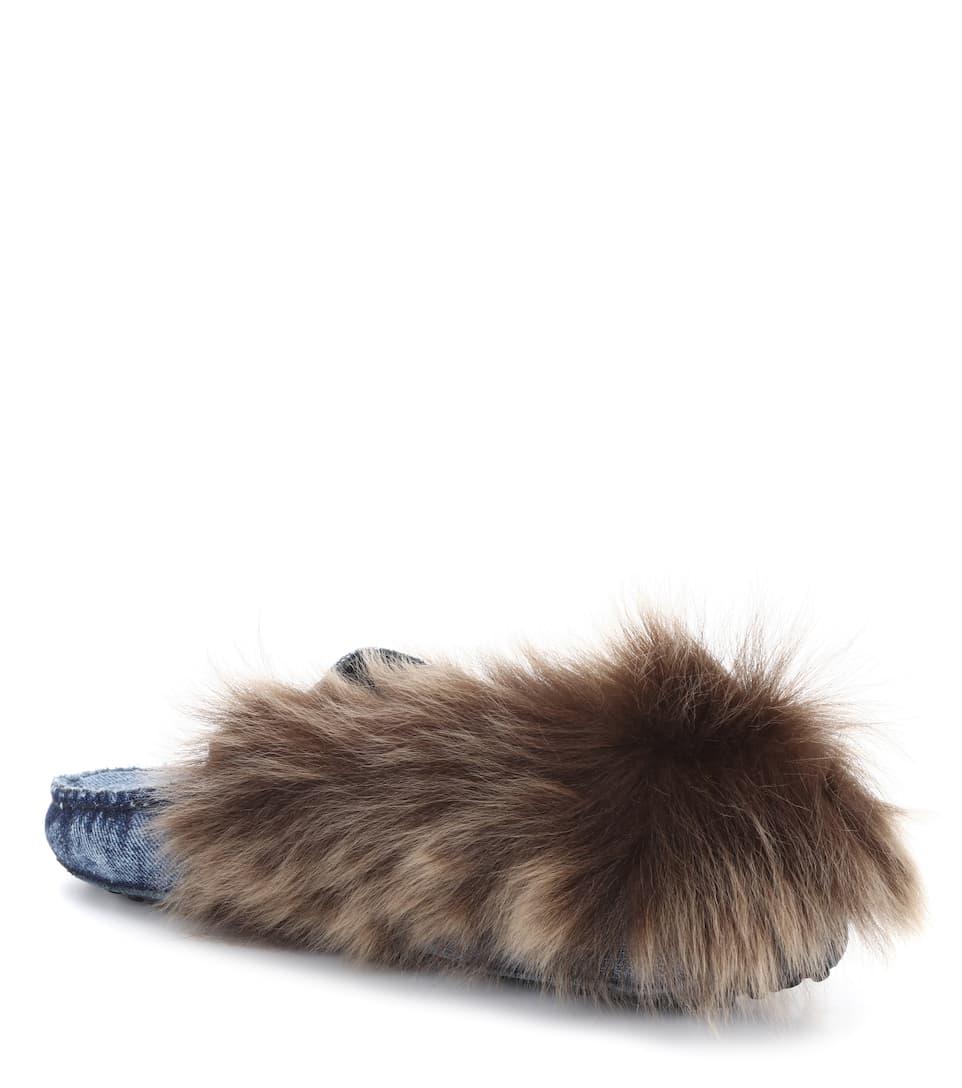 Tod's Loafers Gommino aus Denim mit Pelz