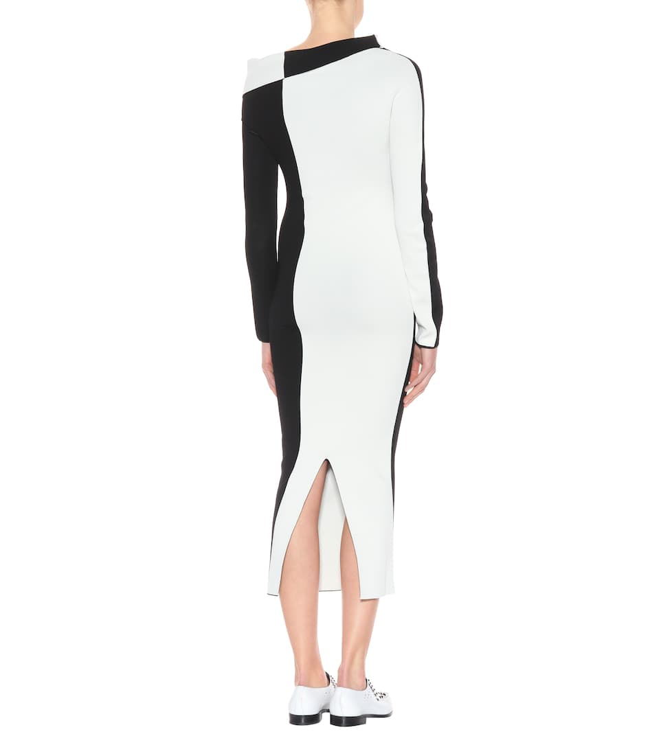 Haider Ackermann Draped knit dress Black/Ivory New Lower Prices Free Shipping Buy 100% Authentic Online Cheap Sale Lowest Price Outlet Pay With Visa I0eJ7k3
