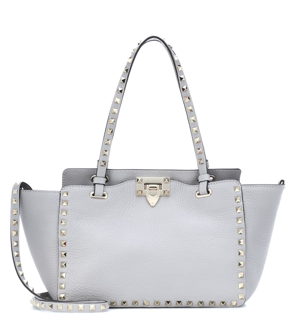 Rockstud Small Leather Tote in Grey