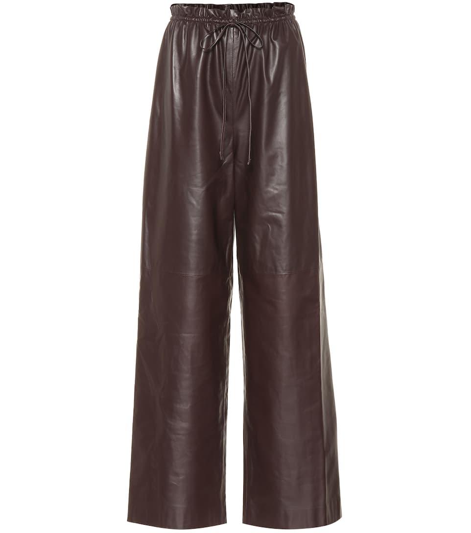 Row ancho marrón de Pantalón cuero oscuro The w1C8gqgx6