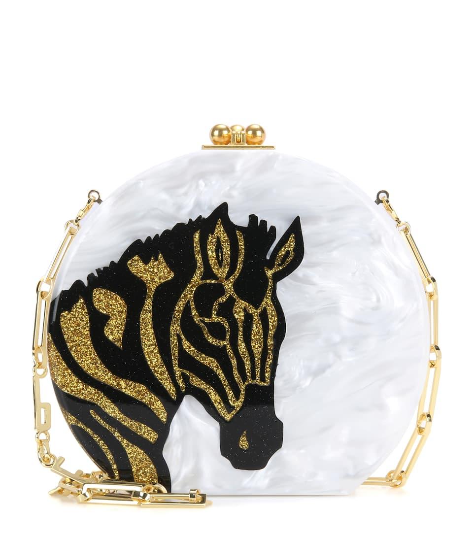Edie Parker Oscar Zebra box clutch