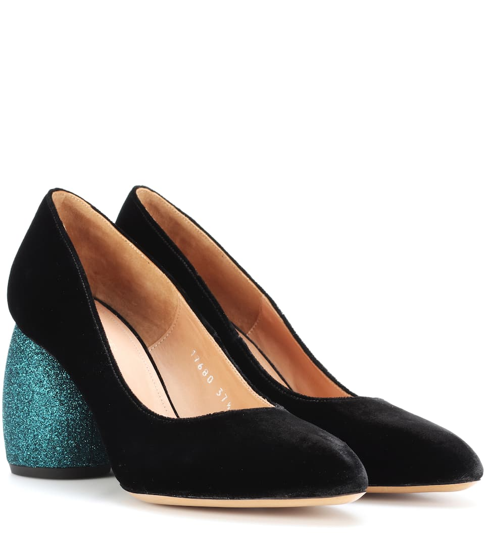 Dries Van Noten Leather and velvet pumps geniue stockist sale online 2oseh7g