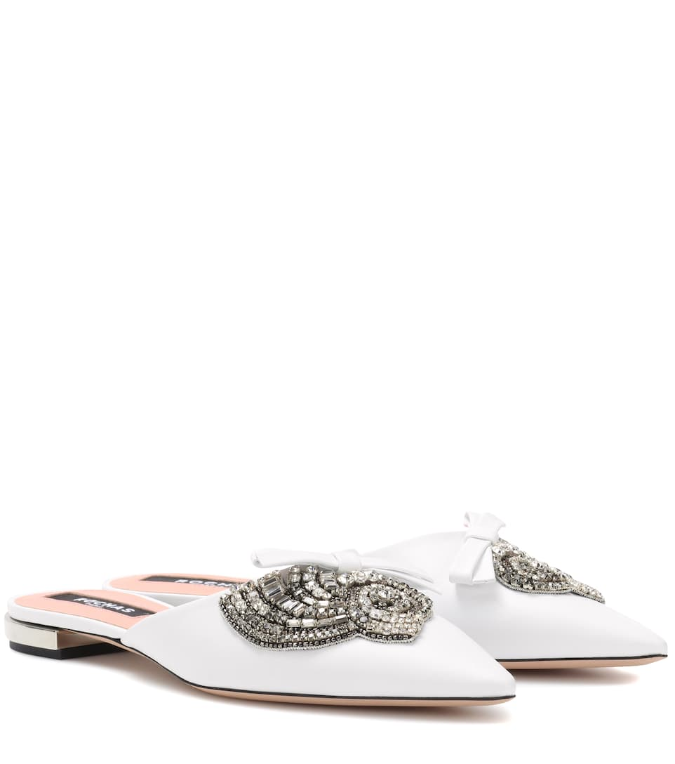 EMBELLISHED LEATHER SLIPPERS