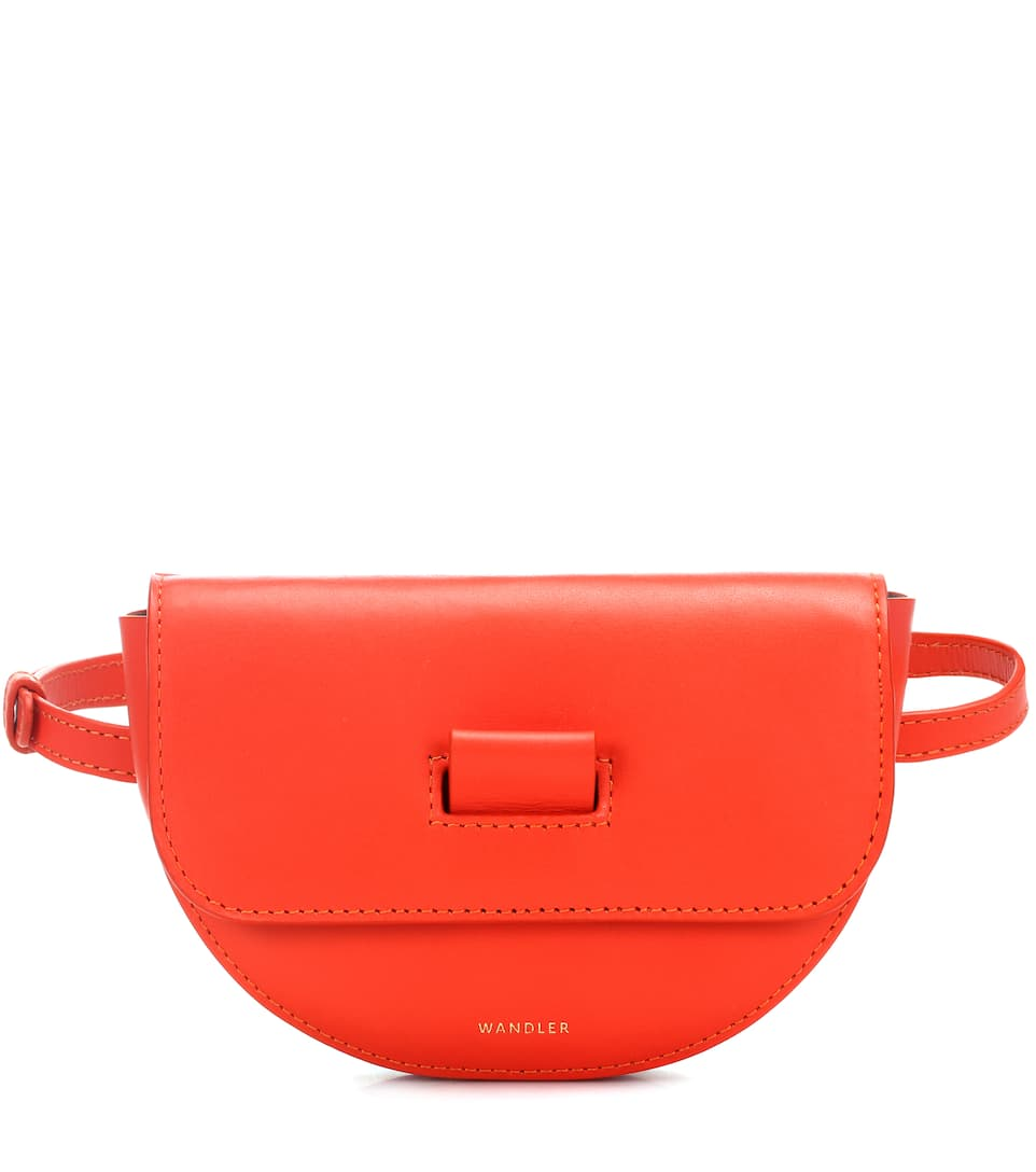 Anna Leather Belt Bag, Red