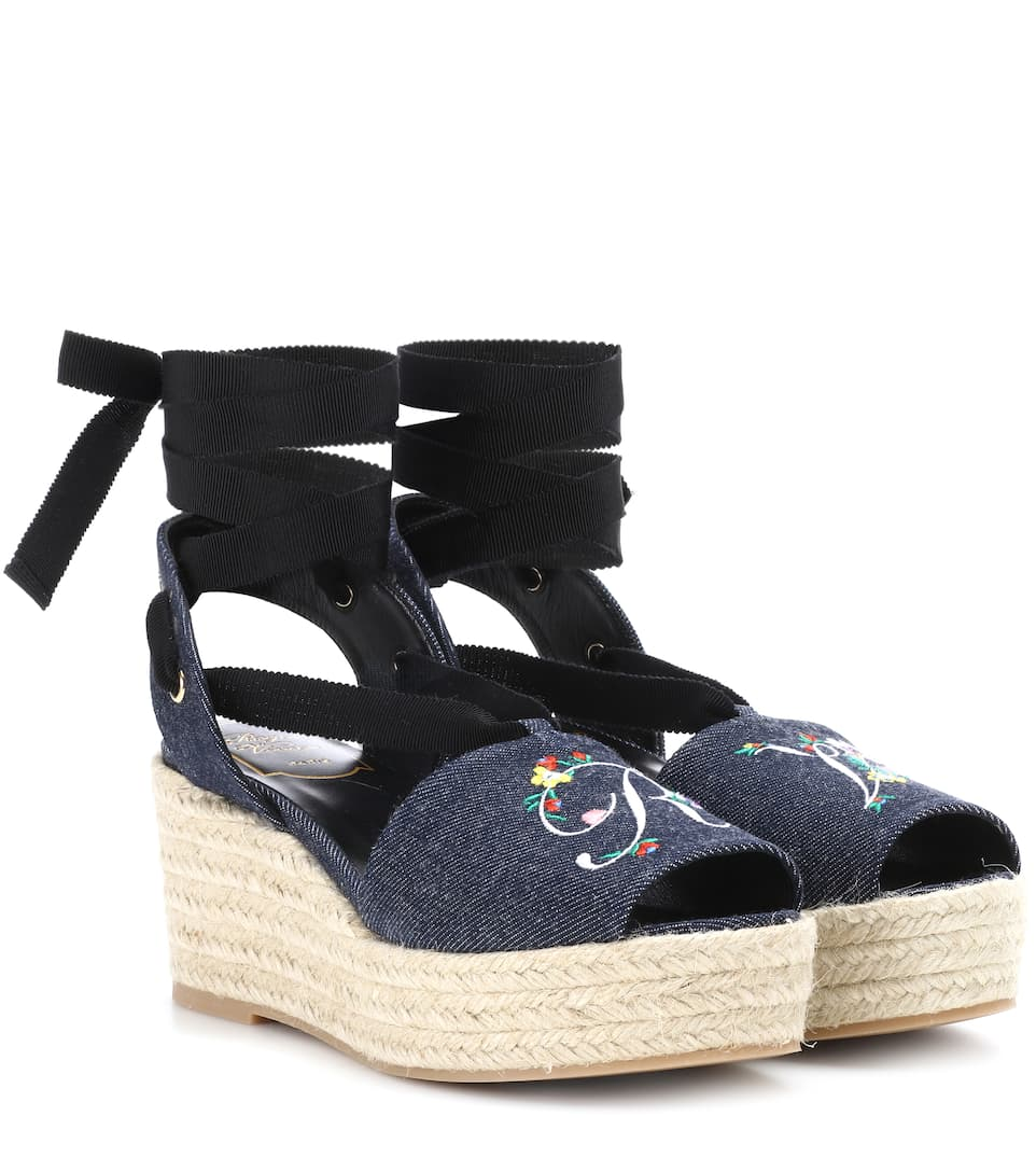 Cheap 2018 Unisex Blooming RV wedge espadrilles Roger Vivier Clearance Cheap Real Clearance Newest rkhA5WgBq