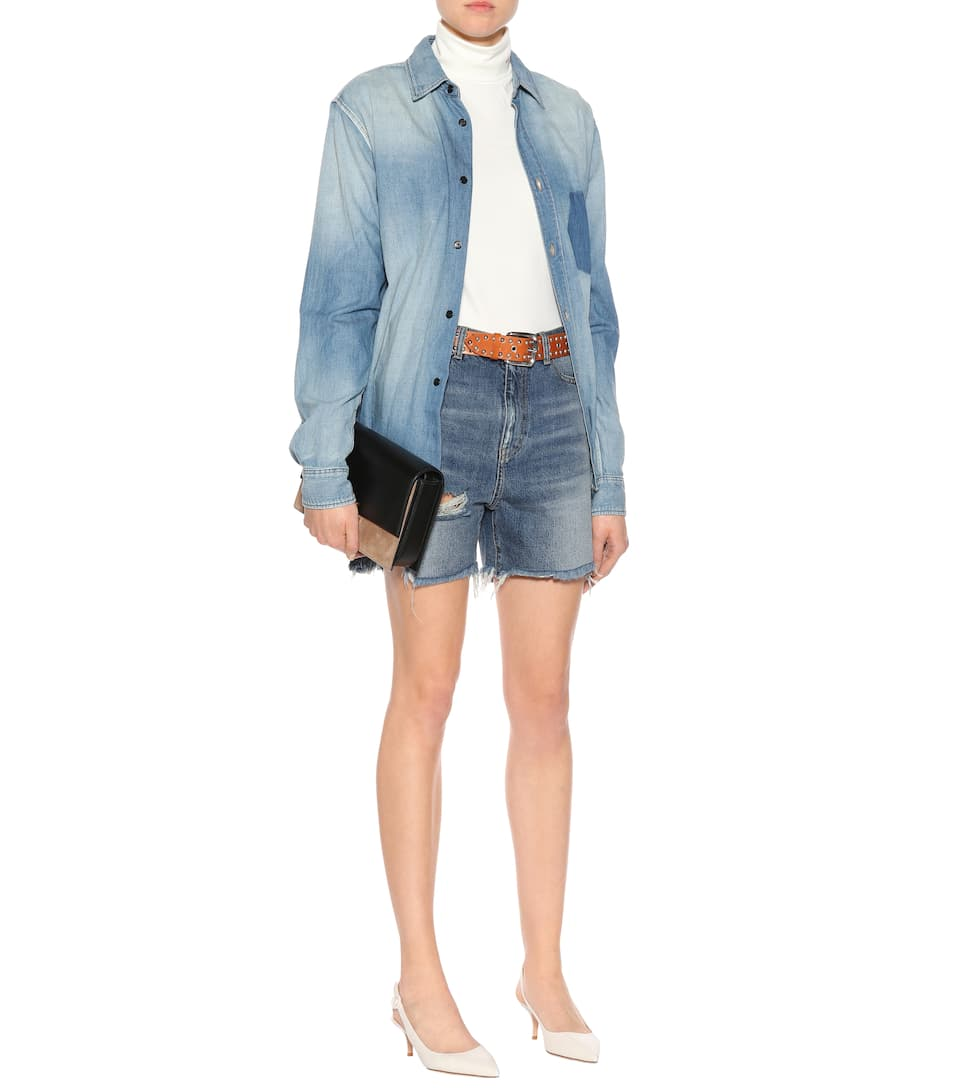 Saint Laurent Distressed Jeansshorts