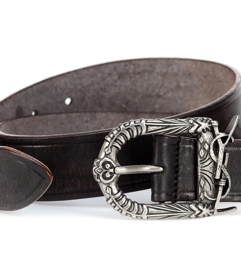 b36f28a82c Monogram Celtic Leather Belt - Saint Laurent | mytheresa.com