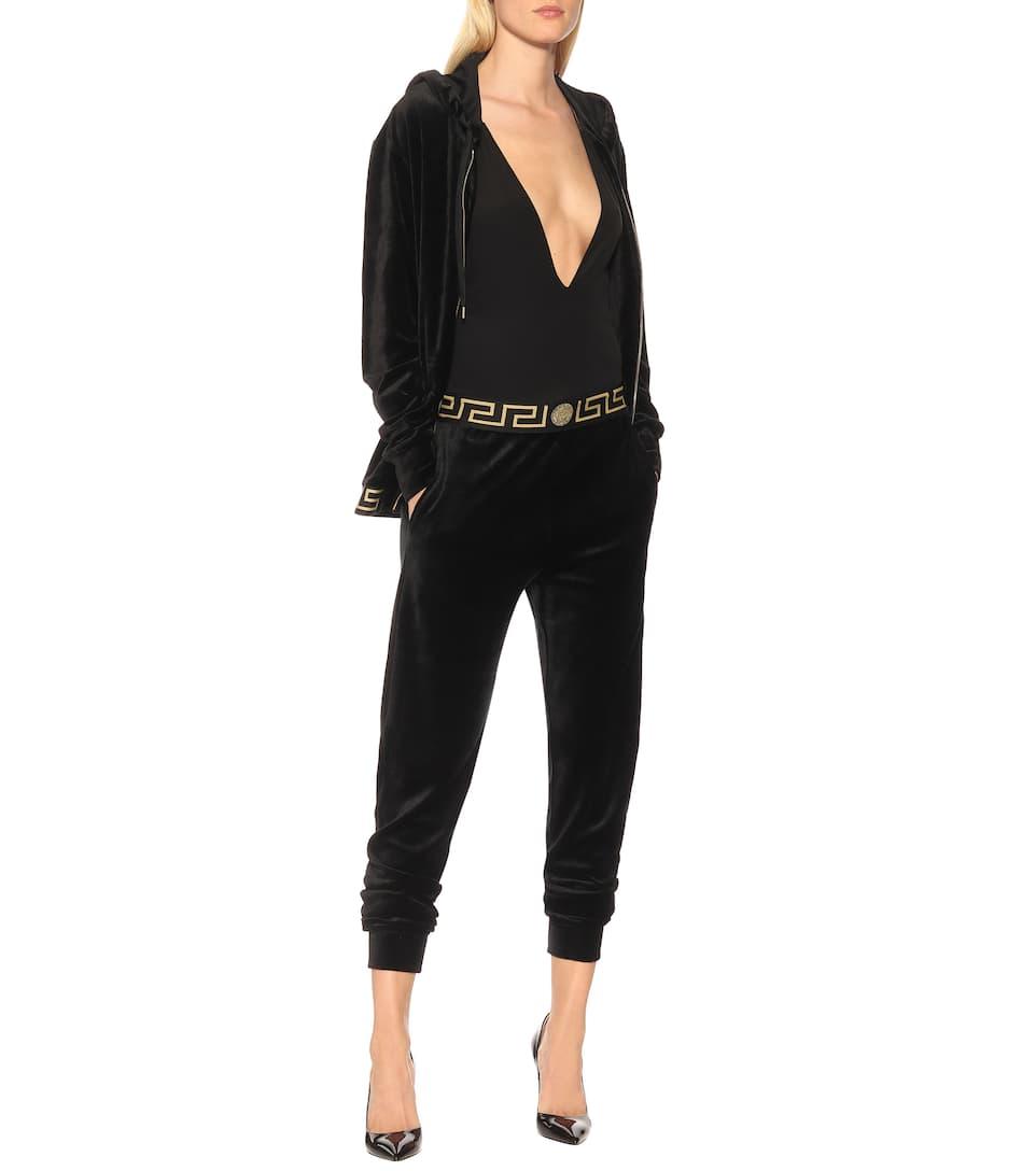 En De Versace Velours Mélangé Coton Pantalon Survêtement PXTikuOZ