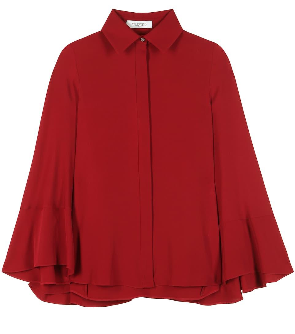 Valentino Silk cape blouse