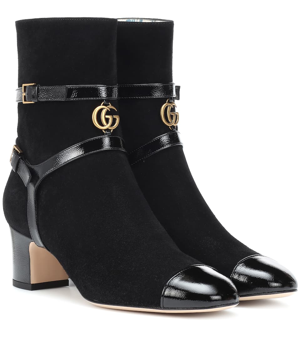 8fde11ef9b9 Geraldine Suede Ankle Boots - Gucci