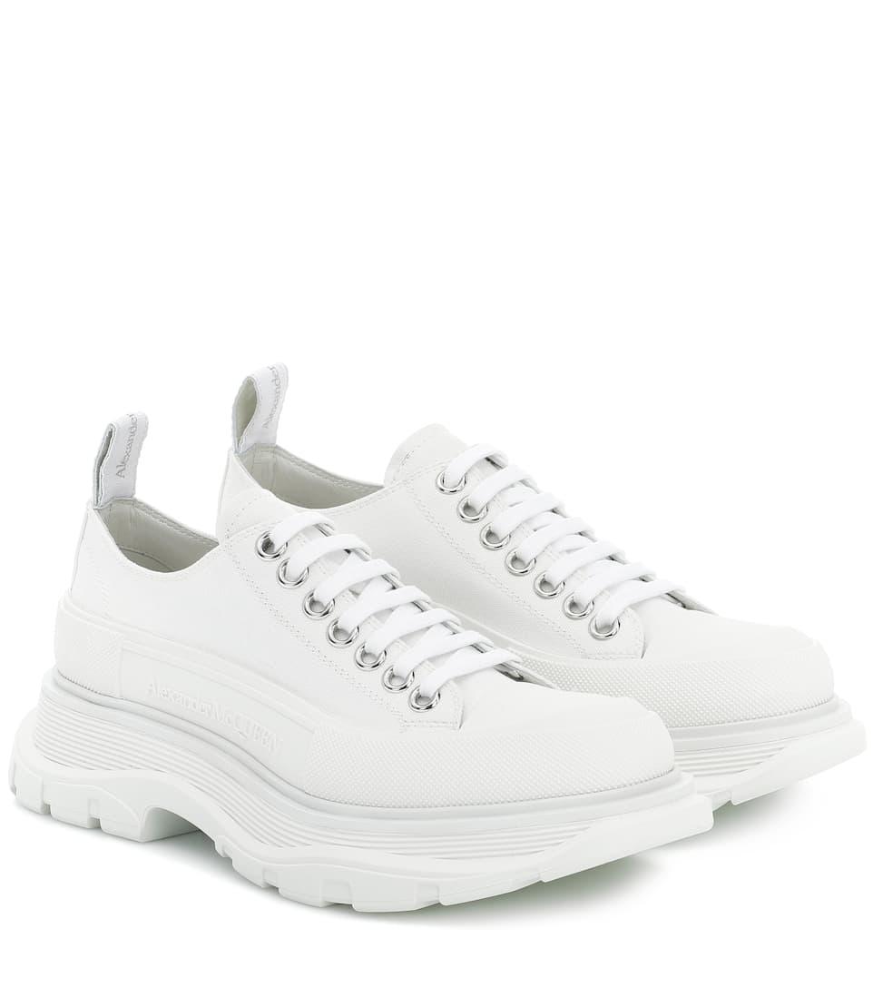 platform white canvas sneakers