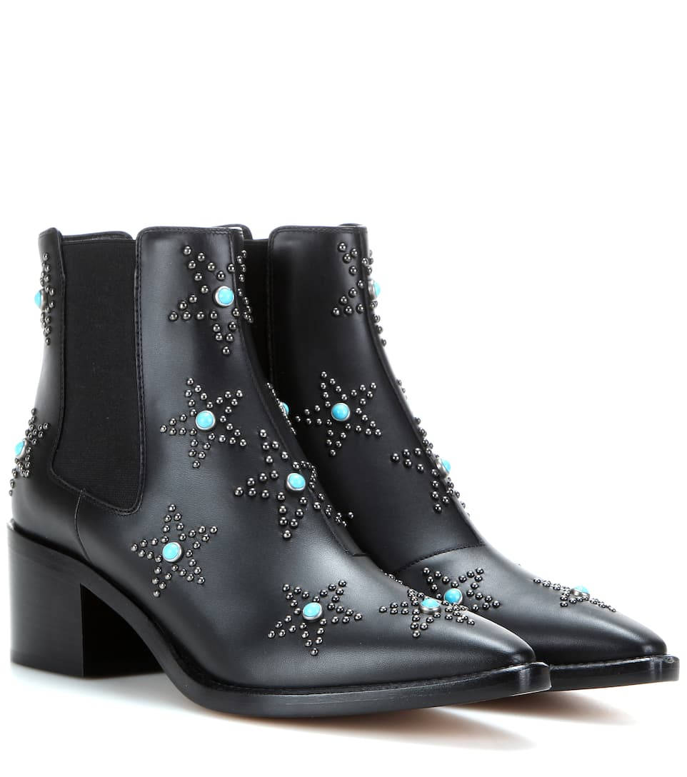 Valentino Leather Star Ankle Boots cheap release dates GWwhPaspi