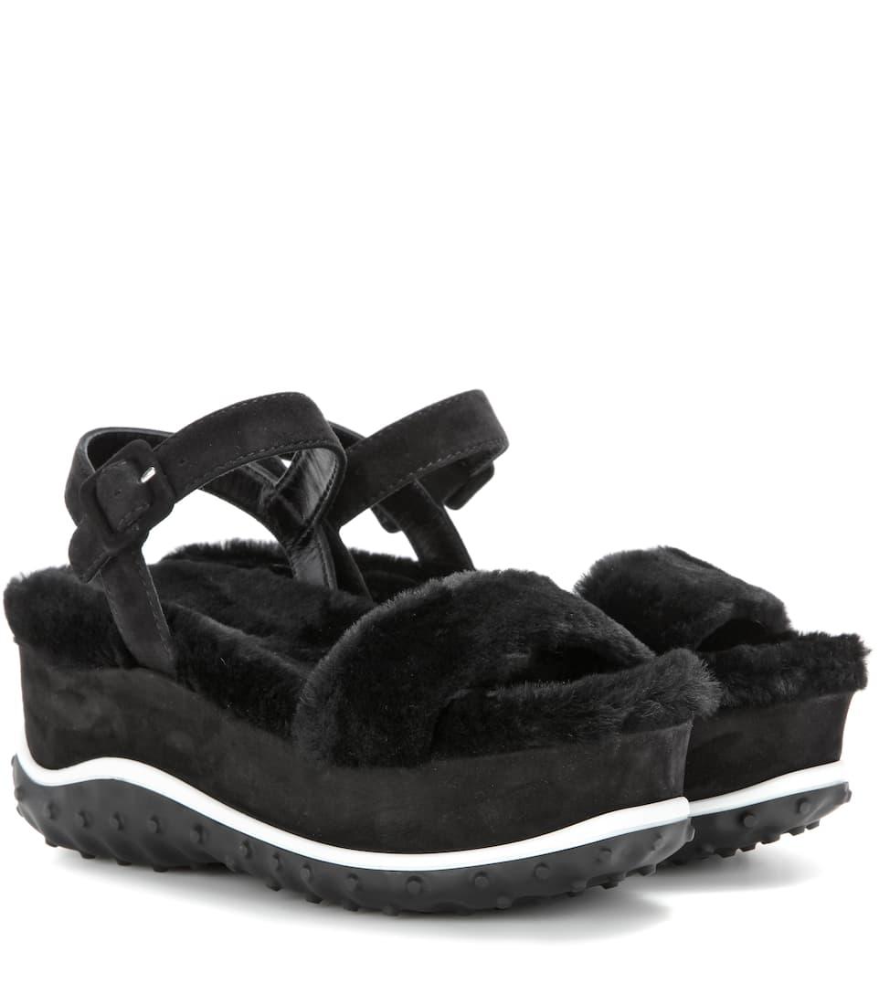 ca48e71c41a1 Miu Miu - Fur and suede platform sandals