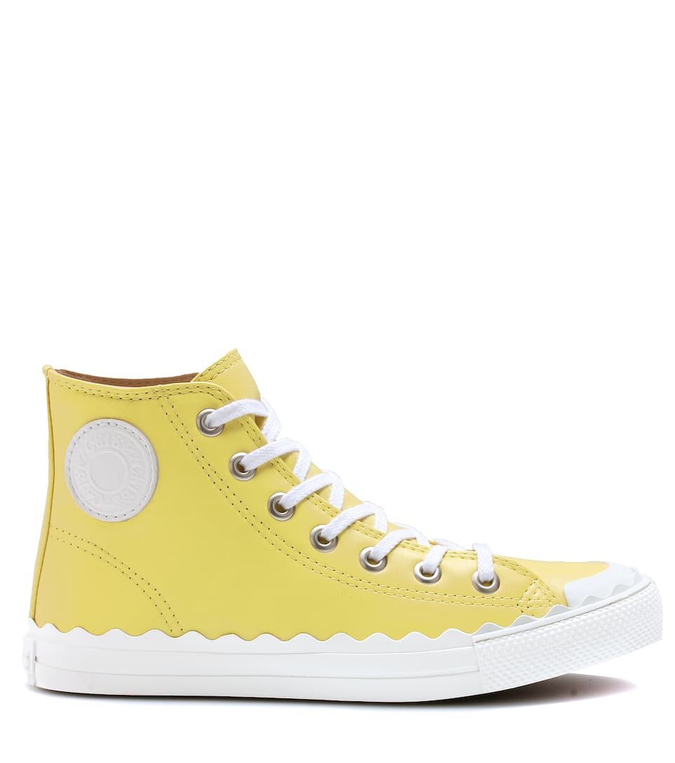 chlo high top leather sneakers yellow suelight modesens. Black Bedroom Furniture Sets. Home Design Ideas