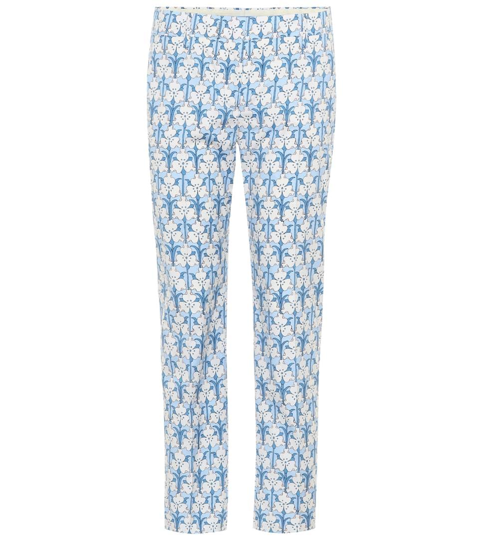 Iris Printed Stretch-Poplin Skinny Pants in Blue