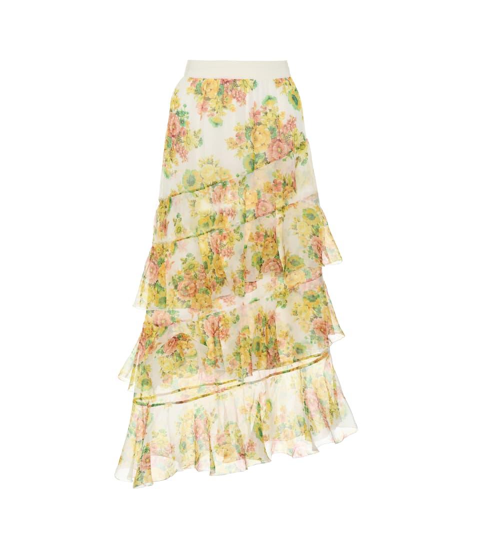 Zimmermann - Golden printed silk skirt  29e8913bd