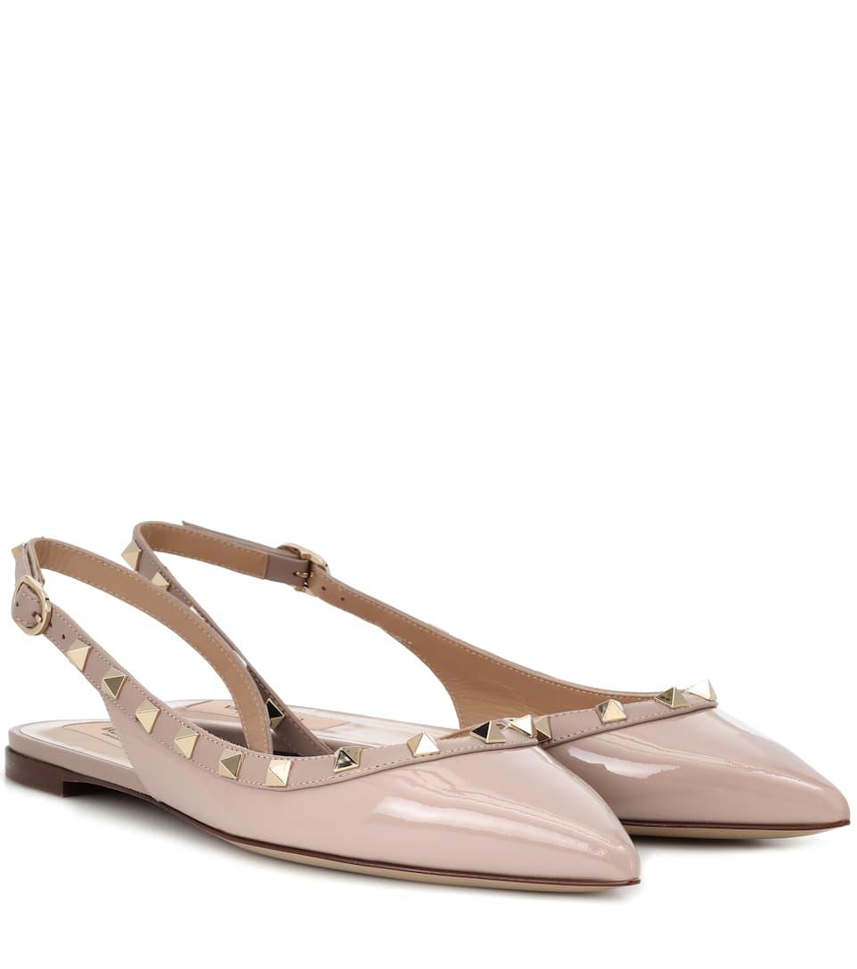 d204bb46f2 Shoptagr | Valentino Garavani Rockstud Patent Leather Slingback Ballet  Flats by Valentino Garavani