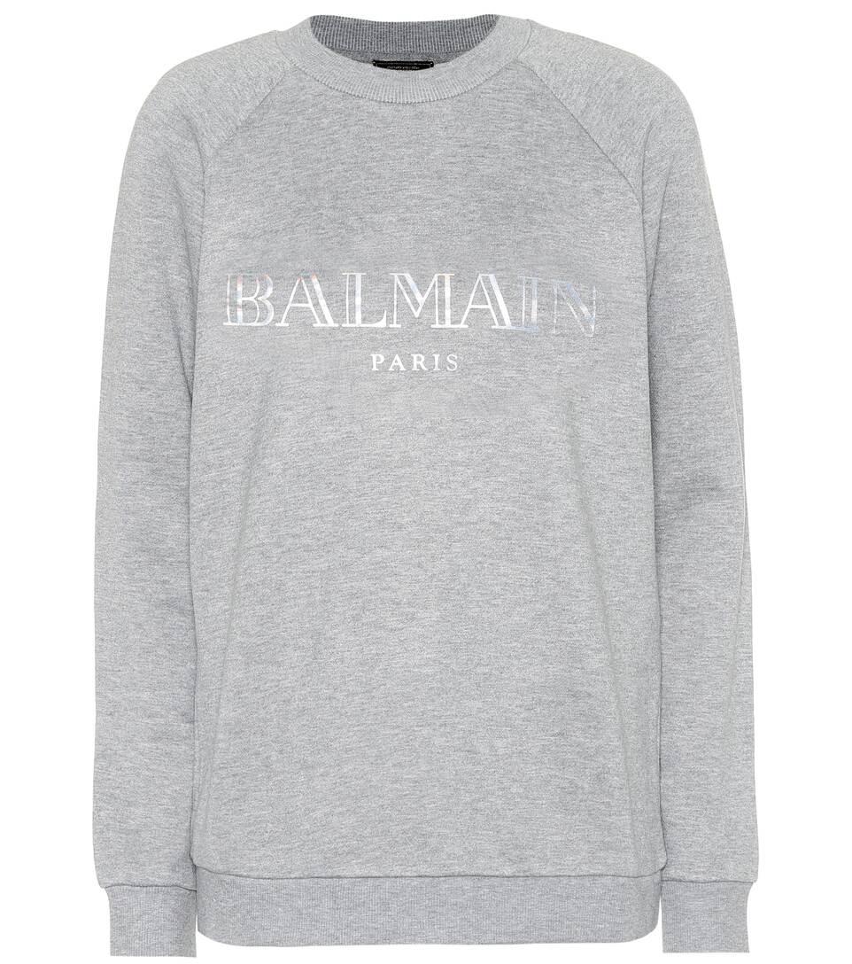 Exklusiv Bei Mytheresa – Bedrucktes Sweatshirt Aus Baumwolle by Balmain