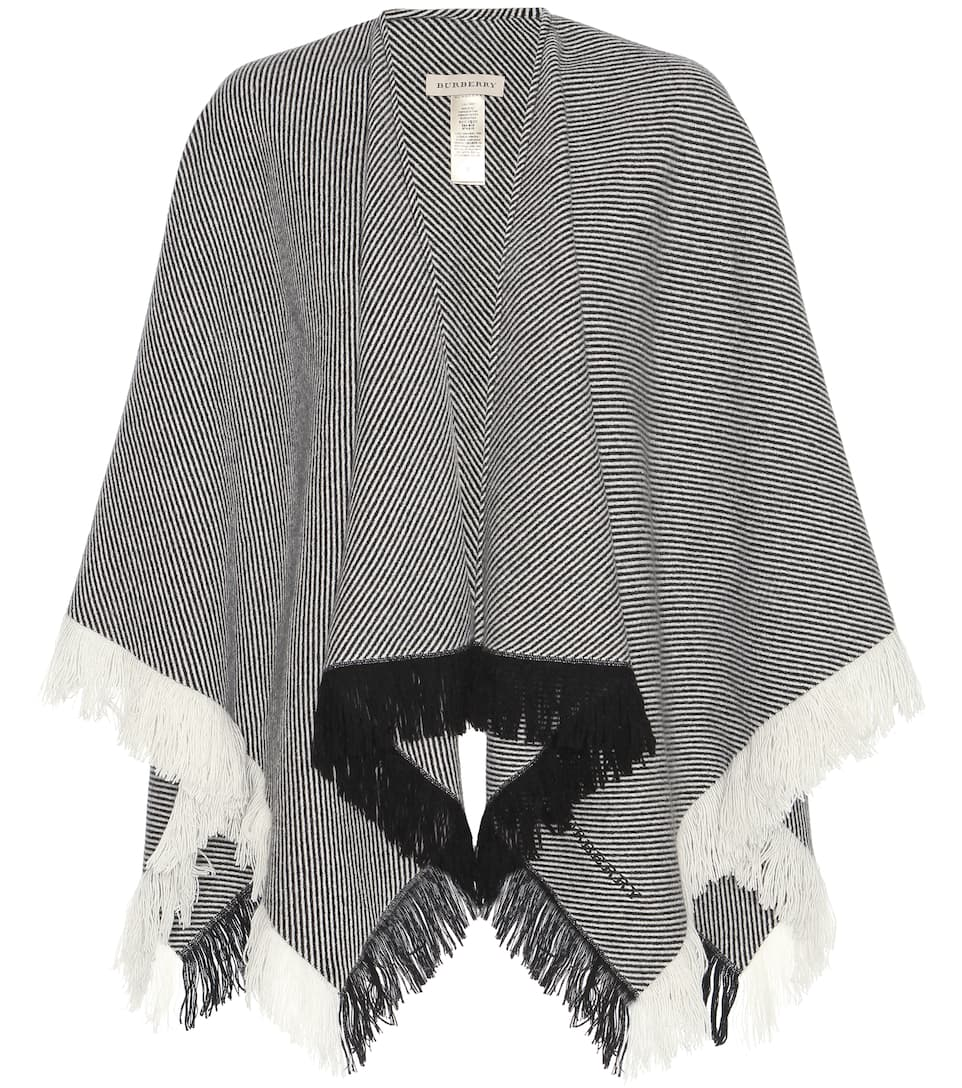Burberry Twill striped wool and cashmere blend cape
