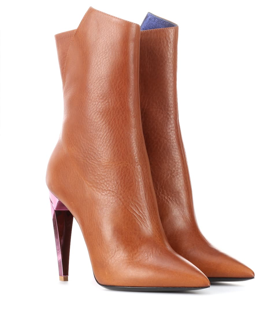 Saint Laurent Tan and Pink Heel Boot