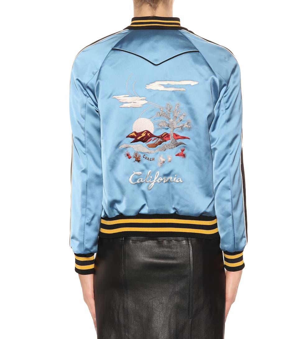 azul satén reversible Chaqueta claro negro de Coach bomber California q4R4waZWn
