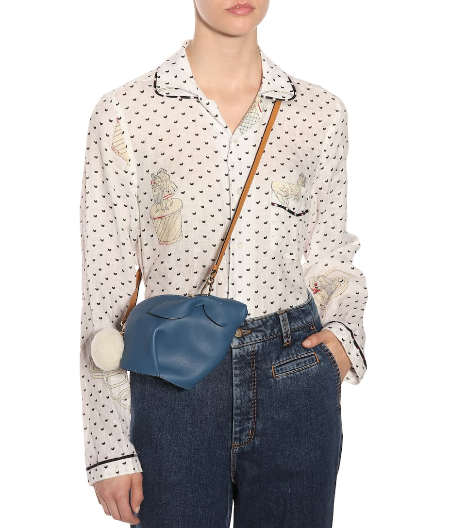 Loewe Bunny leather shoulder bag Varsity Blue/Pecan Color Visa Payment Cheap Price Bulk Designs Footlocker For Sale Fashion Style Designer J2rpbm