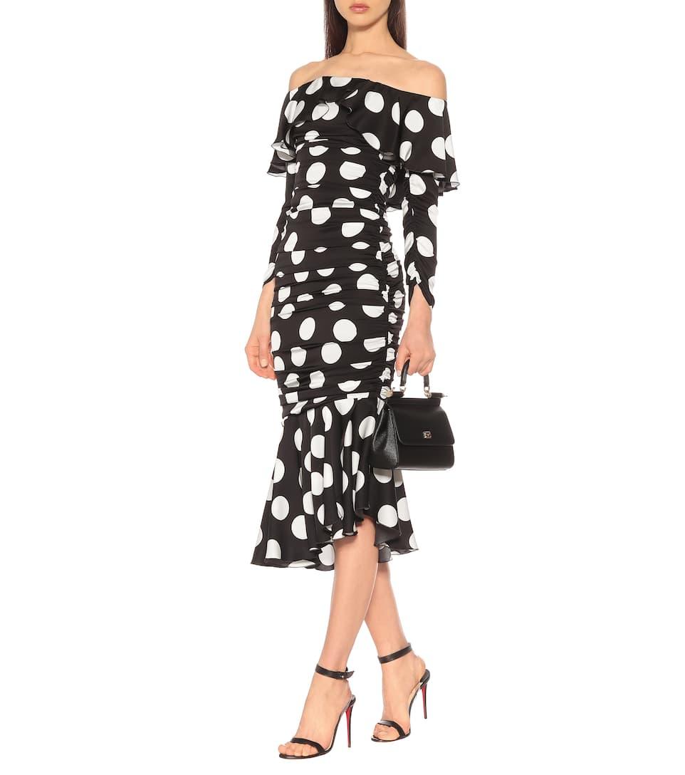Stretch En À Pois Soie Dolceamp; Encolure Robe Bardot Gabbana cTJ3lF1K