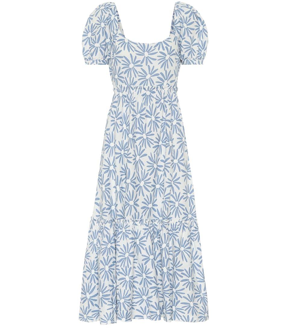 Linen Floral Midi Dress