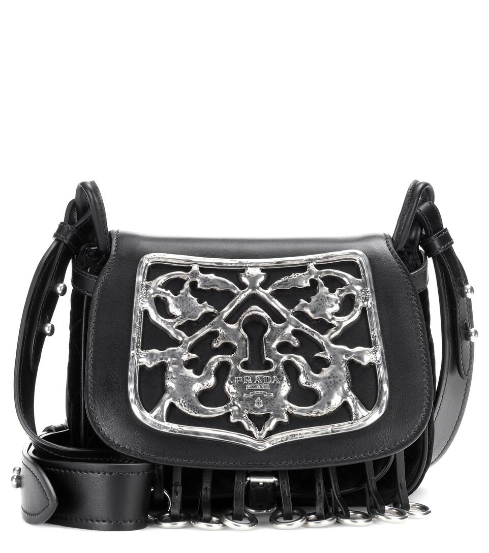 Cotton And Leather Embellished Shoulder Bag - Prada  5cc56a358883e