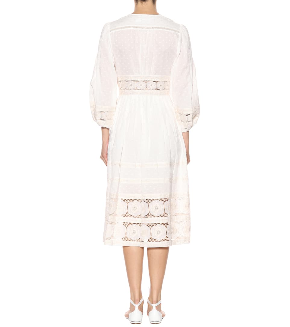 Carpenter Dress In Cotton With Lace Hole