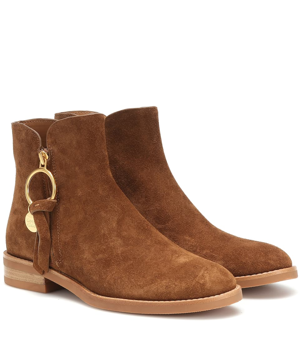 Flat Brown Suede Ankle Boots
