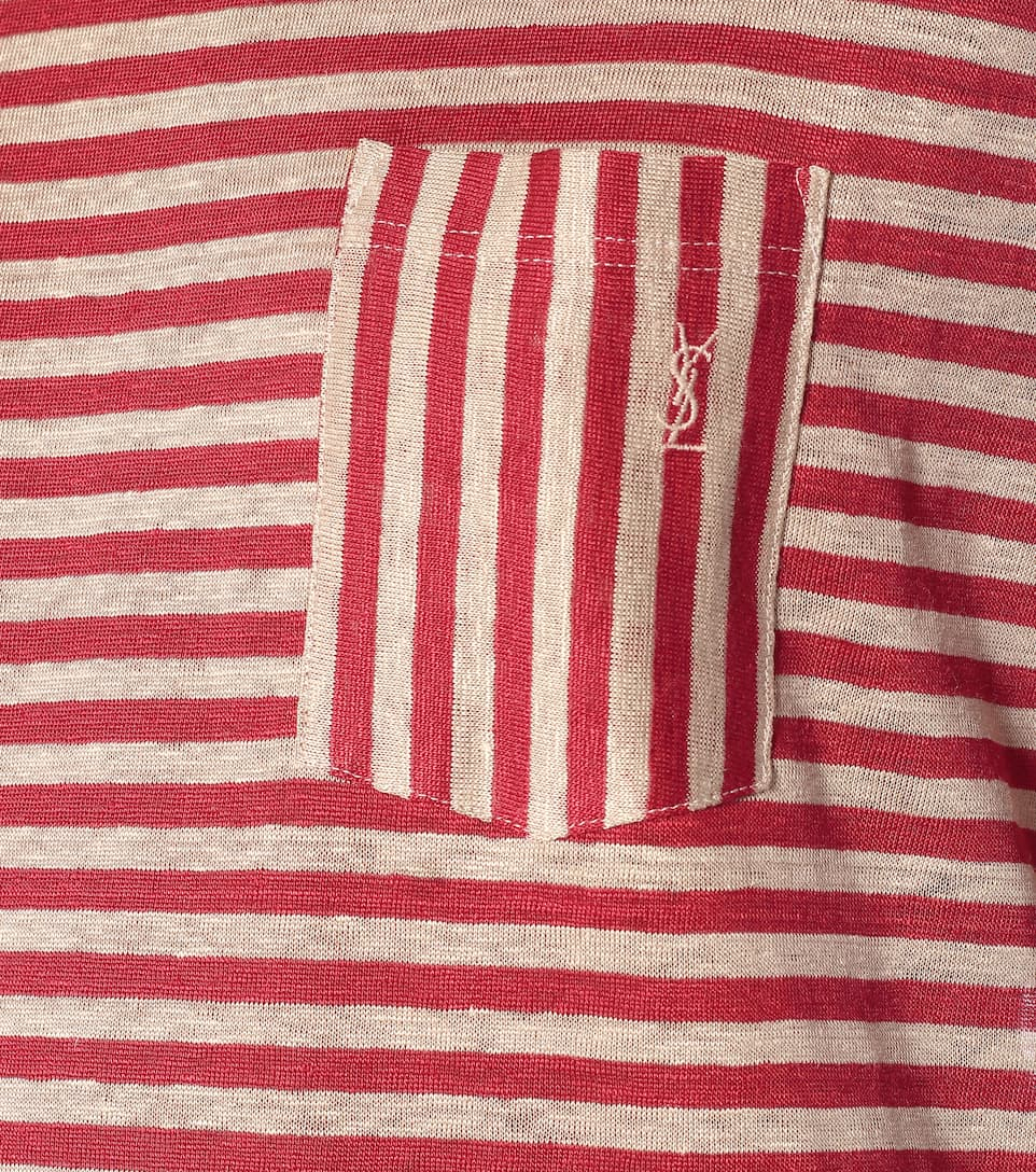 Saint Laurent - Striped linen T-shirt