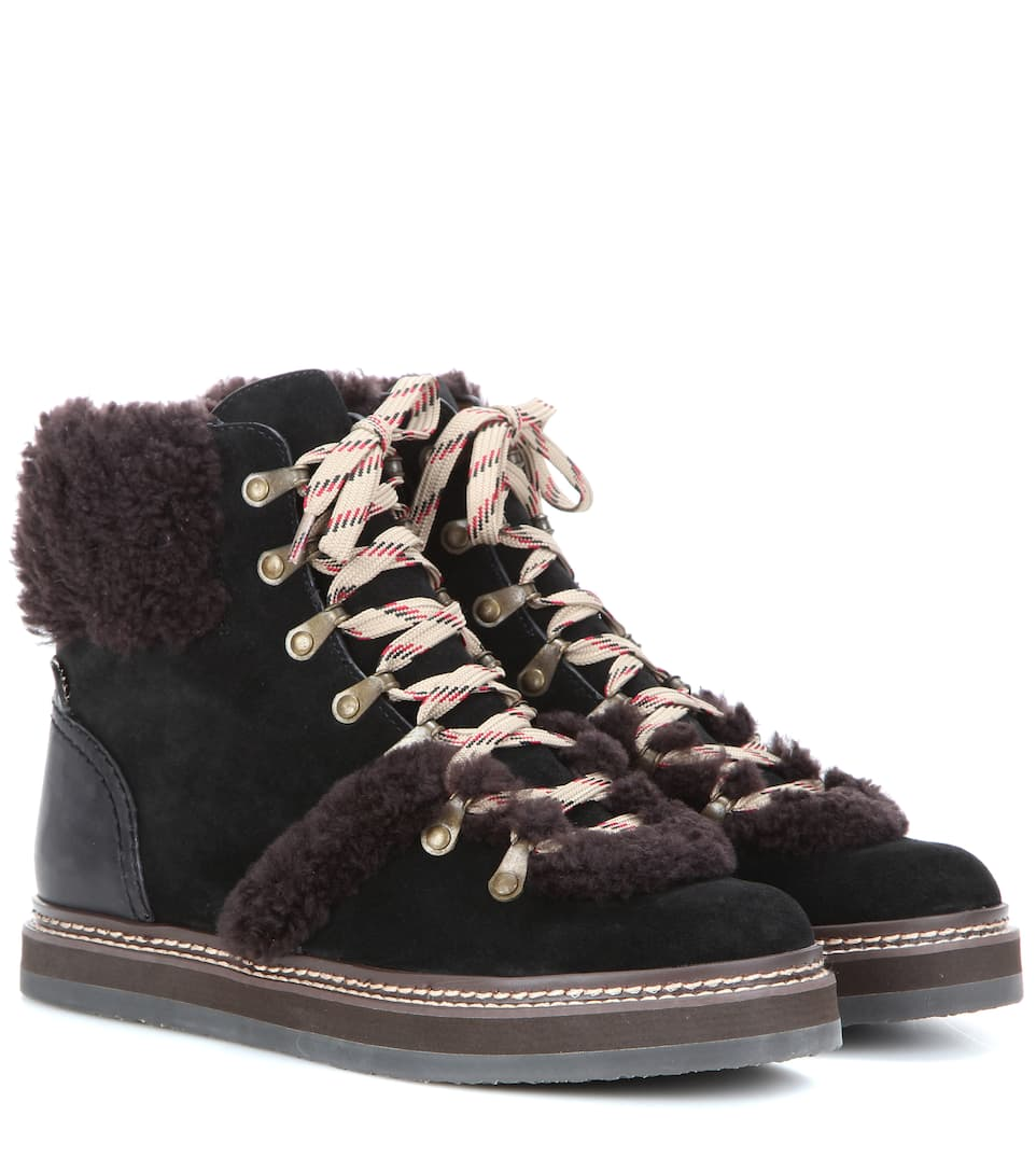 shopping online sale online cheap looking for See by Chloé Shearling-Trimmed Low-Top Sneakers outlet locations for sale outlet fake shop for online xLgBmxP