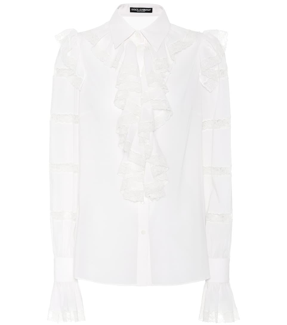 Dolce &; Gabbana Blouse En Georgette De Soie À Volants