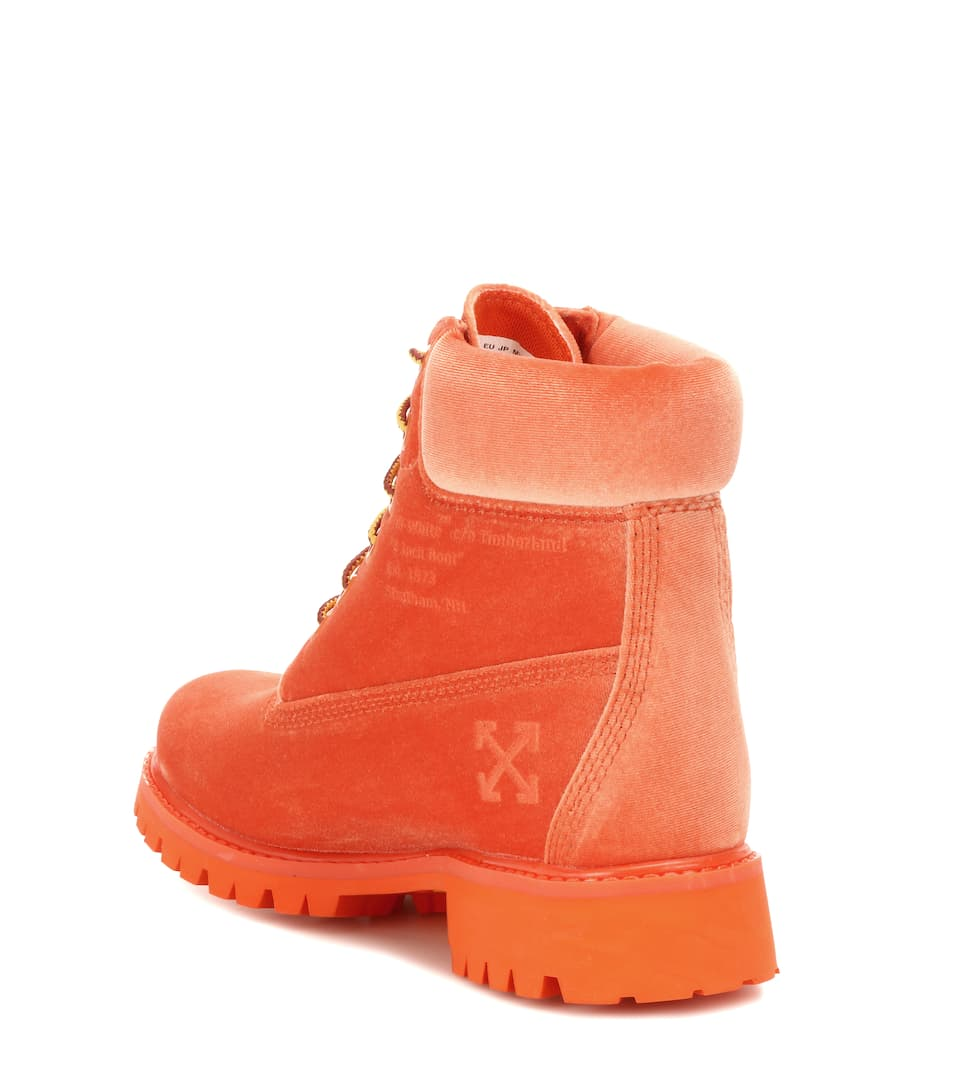 Off-White X Timberland Ankle Boots aus Samt