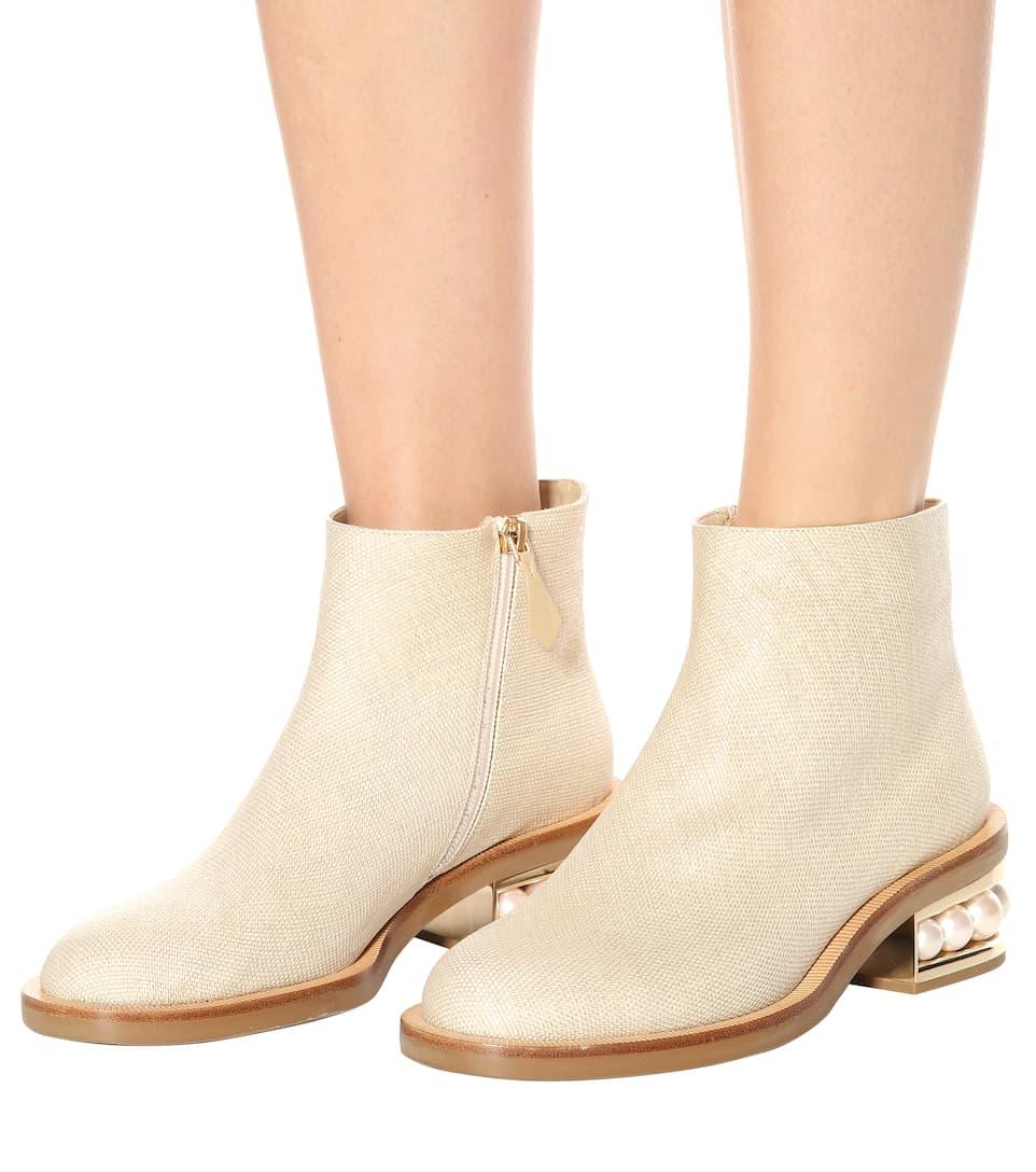 Nicholas Kirkwood Ankle Boots Casati Pearl aus Canvas