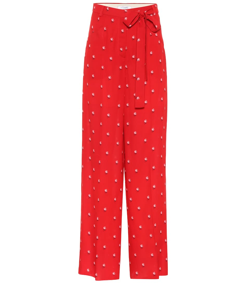 Floral-printed silk cr?pe trousers Valentino