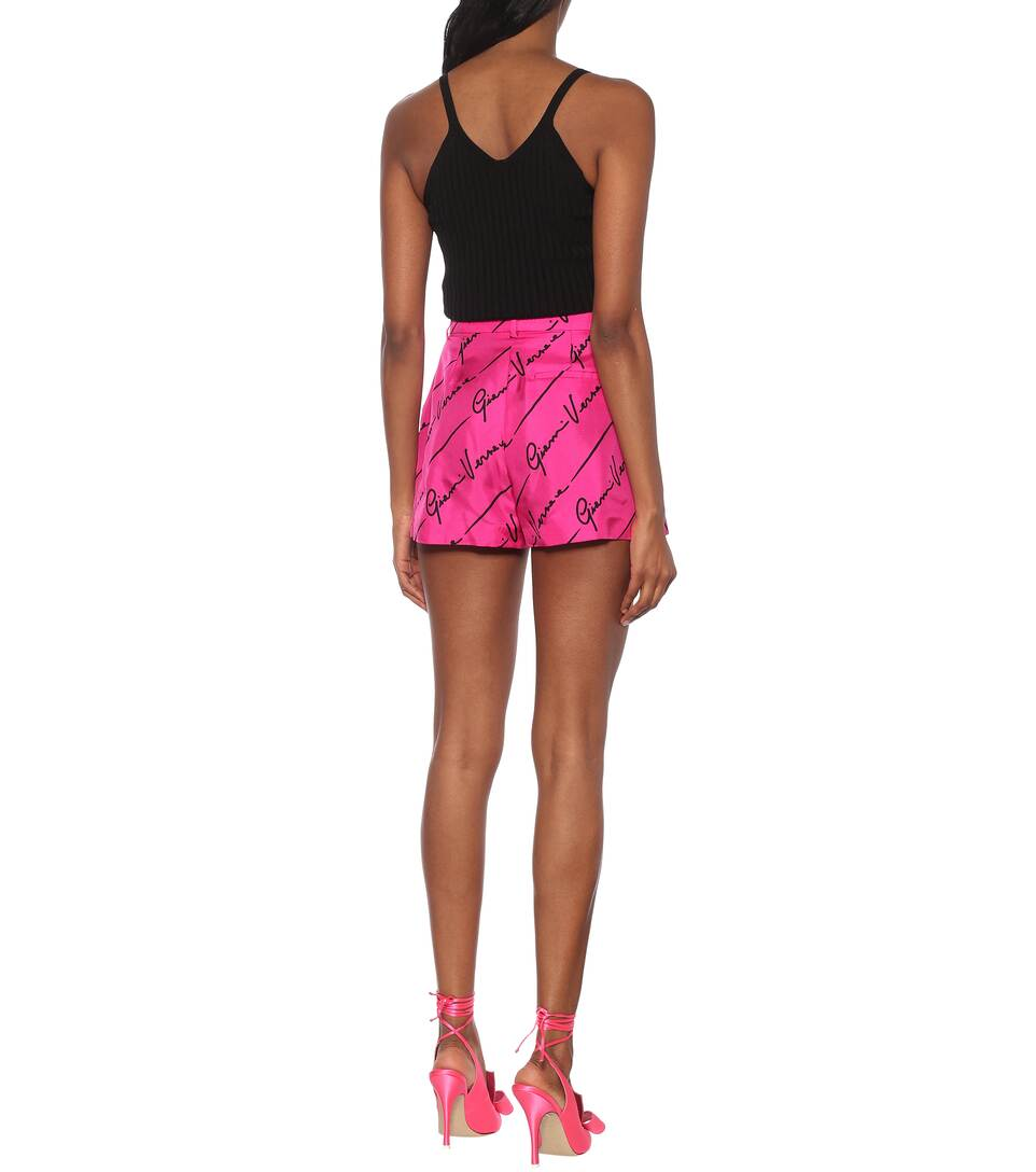 Versace - Logo high-rise twill shorts