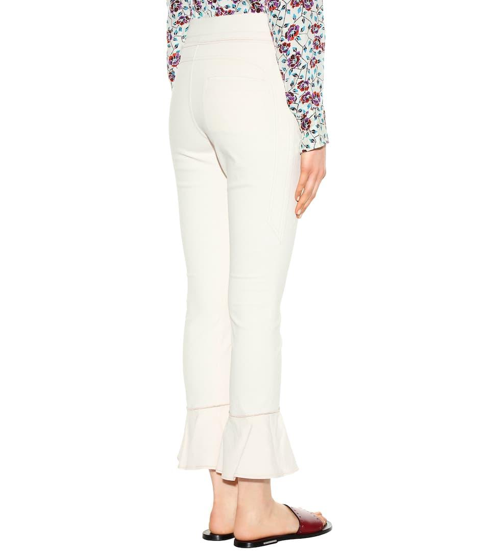 Isabel Marant Hunter Cotton-Blend Trousers, White