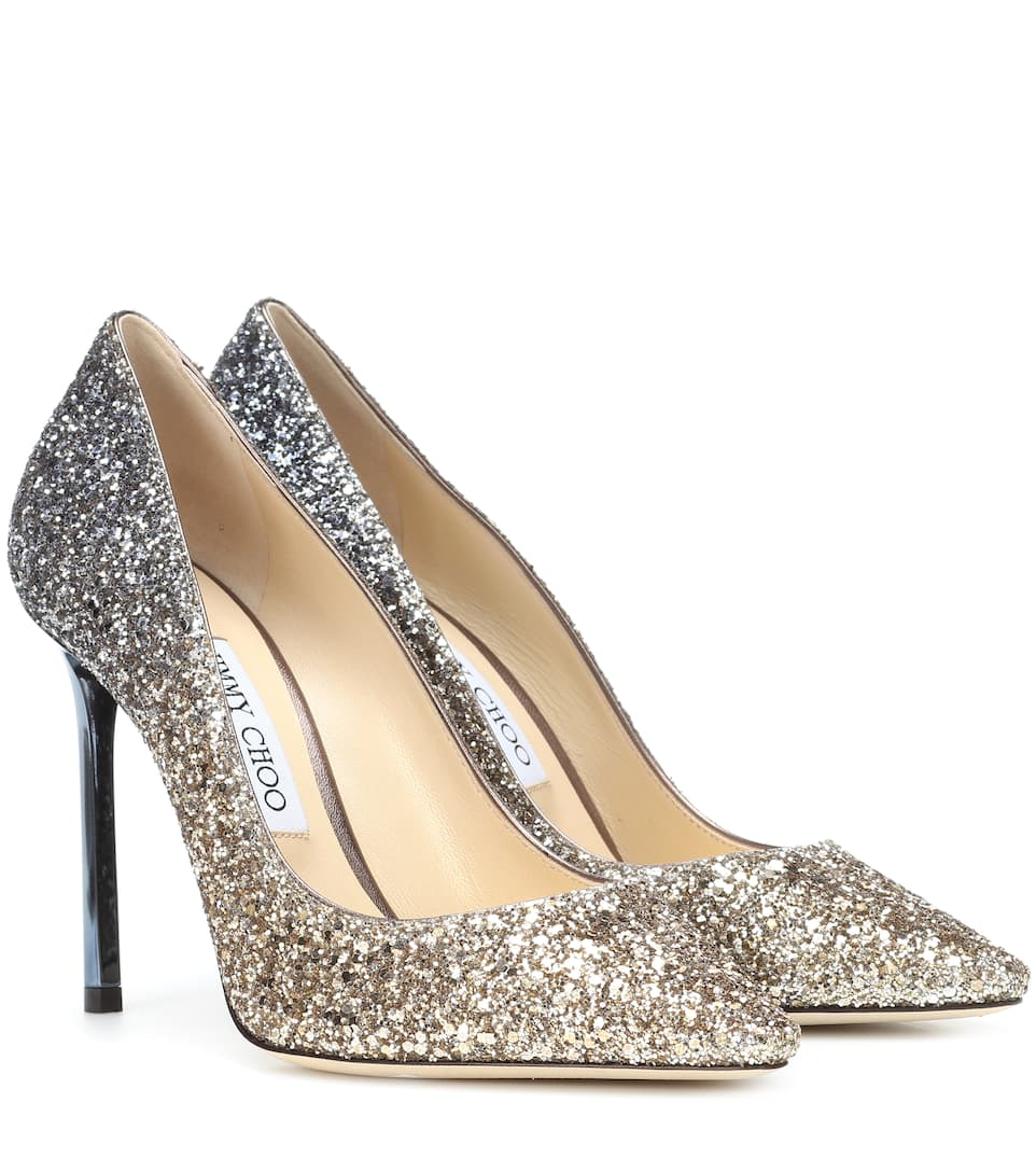 Jimmy choo Gold Romy 100 glitter leather pumps rCJzVF4QJj