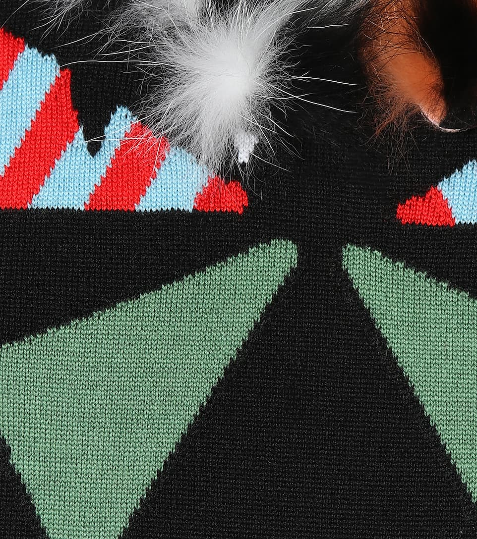 Fendi Pullover aus einem Wollgemisch mit Pelzapplikation
