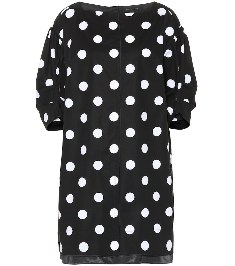 elástico de Negro Marc Jacobs Blanco de algodón Vestido lunares dEUqwE