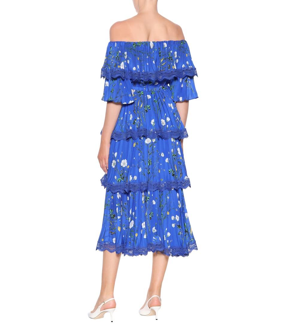 de pierna exclusivo a Vestido estampado de con floral media mytheresa Autorretrato Cobalto com crepé a5xw1qxF
