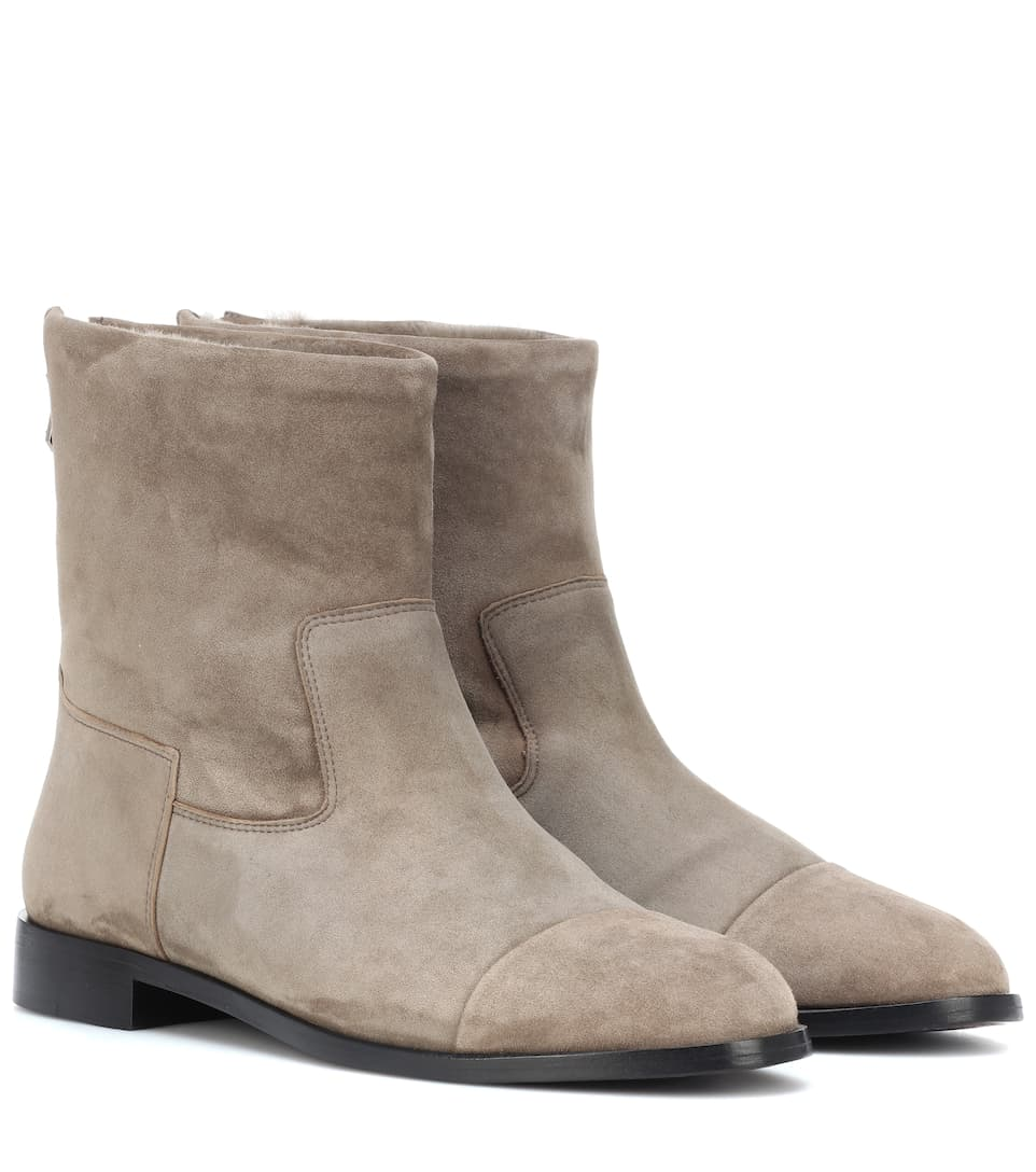 BOUGEOTTE Exclusive To Mytheresa - Suede And Shearling Ankle Boots in Grey