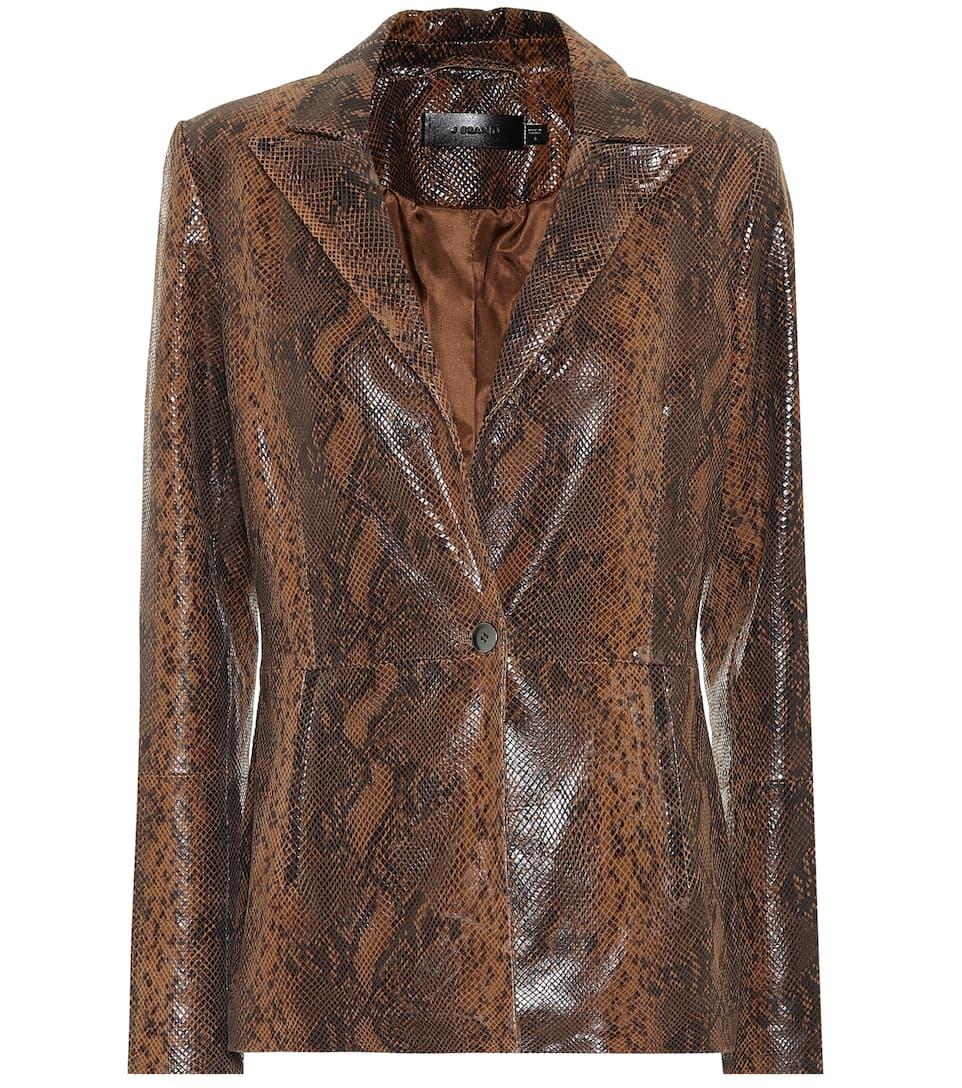 J Brand Londyn Snake Printed Leather Jacket In Brown