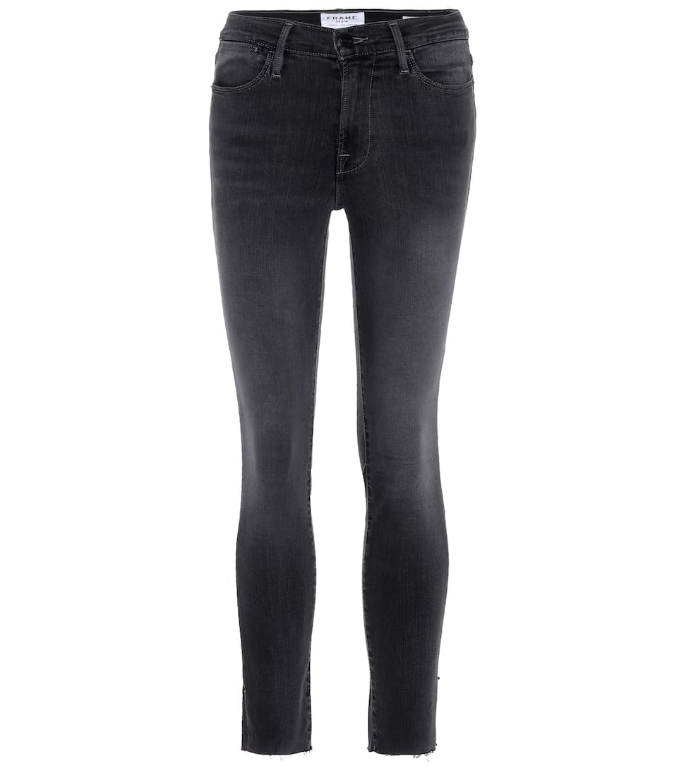 Frame High-Rise Cropped Jeans Demin