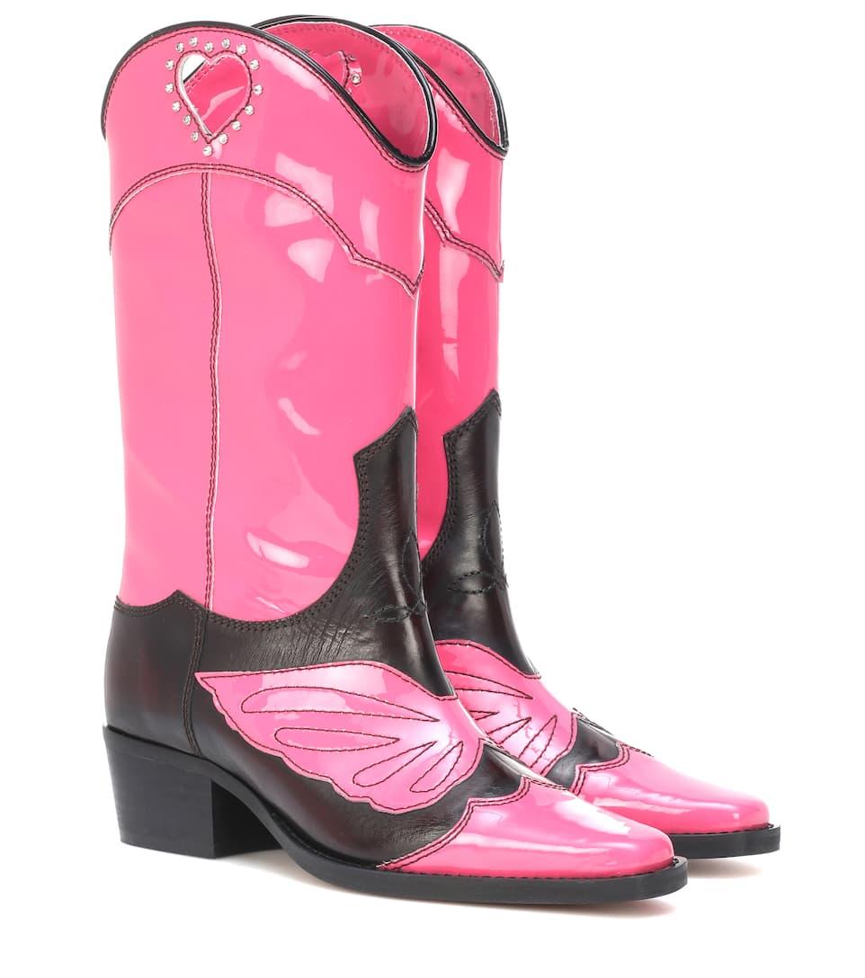 Marlyn Leather Cowboy Boots Ganni Mytheresa