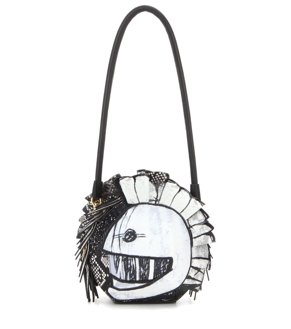 Pallas Helmet Leather And Snakeskin Shoulder Bag by Burberry