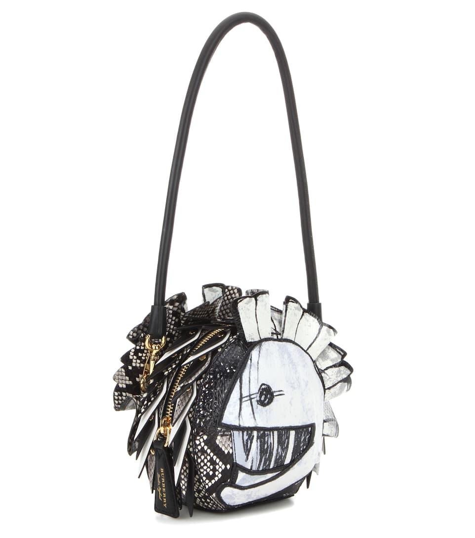 Pallas Helmet leather and snakeskin shoulder bag Burberry lG90EihgB
